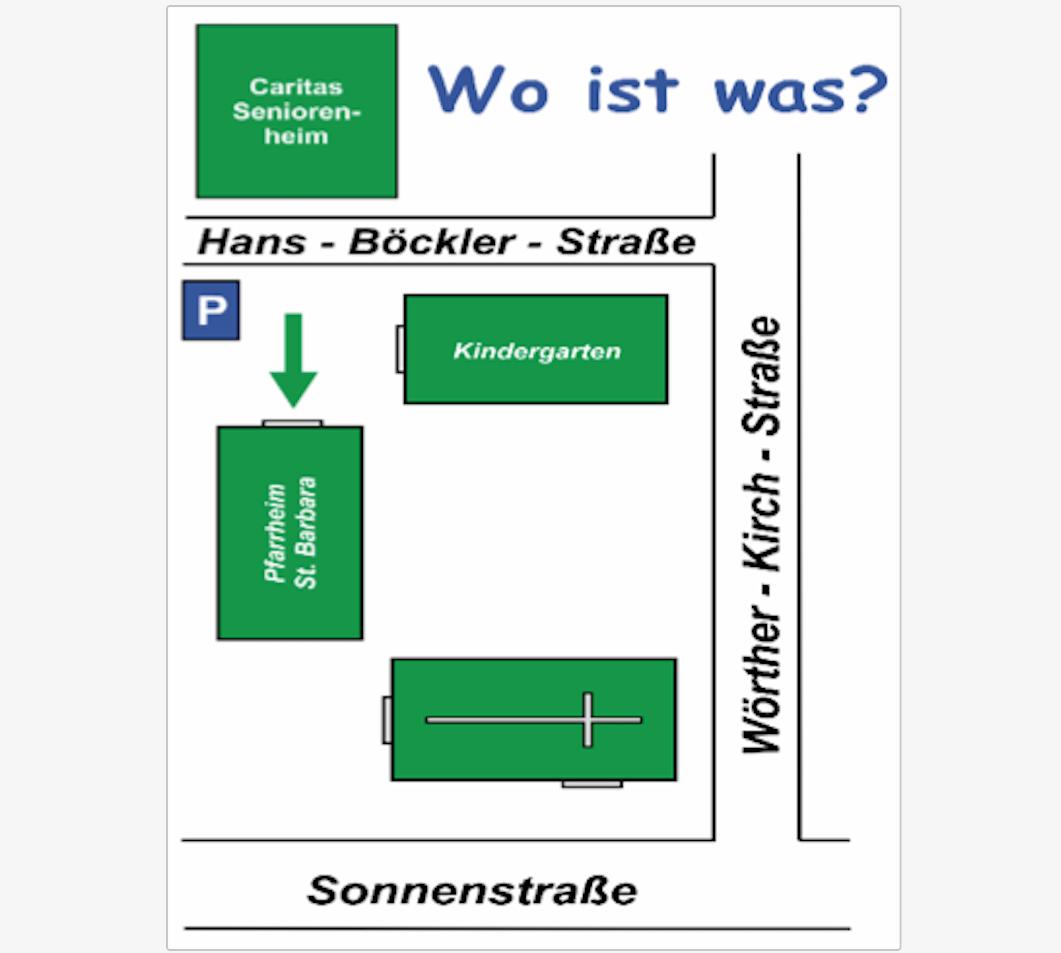 Wo ist was - Lageplan St. Barbara Peißenberg