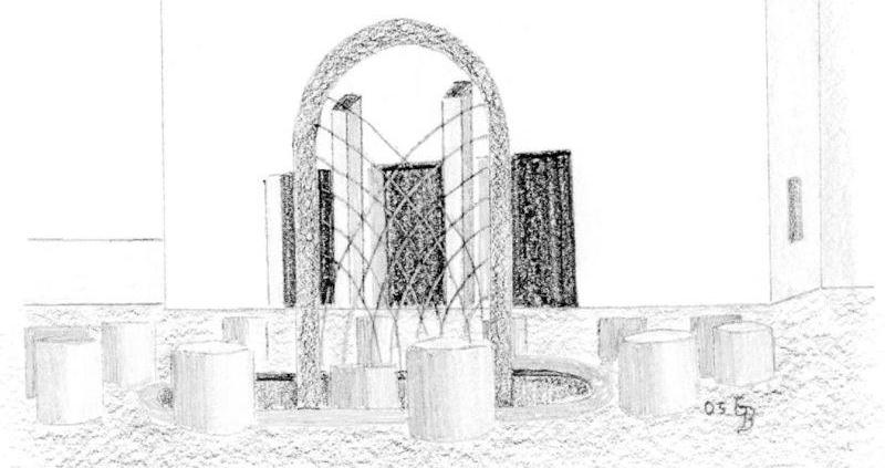 Brunnen am Kirchplatz von St. Barbara - Zeichnung: Günther Benedikt