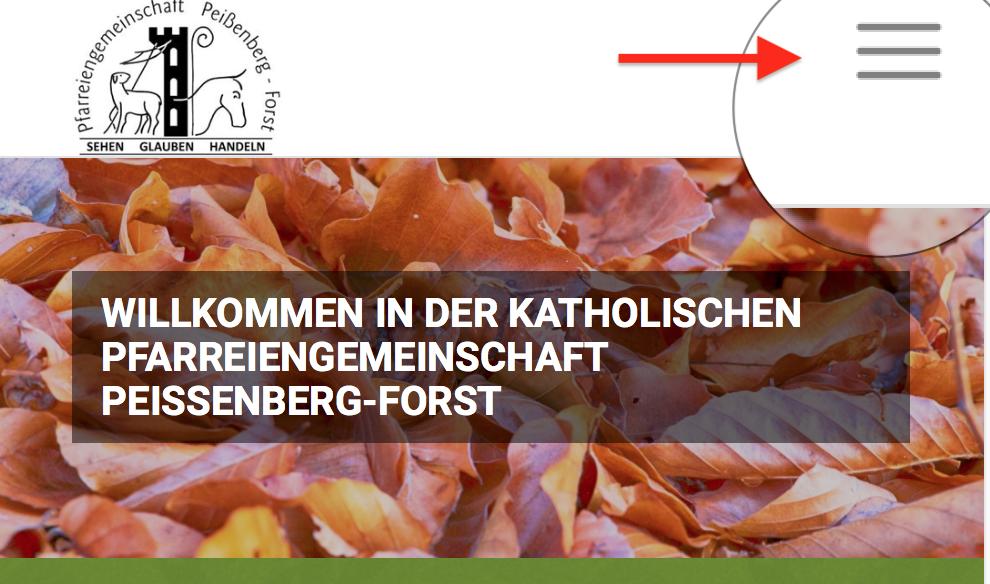 Hamburger Menü zum Einblenden der Navigation