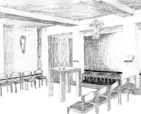 Krypta St. Barbara - Zeichnung G. Benedikt