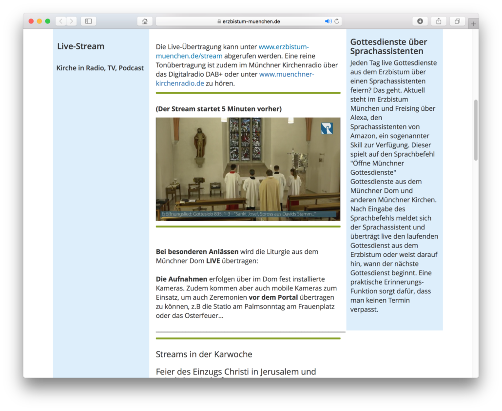 Bildschirmfoto Gottesdienst im Internet live übertragen